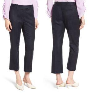 Lewit Pinstriped Stretch Wool Blend Dress Pants